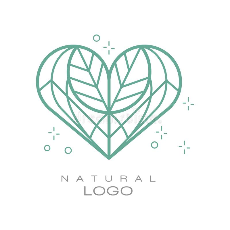 Natural logo, design element for organic healthy products, natural cosmetics, premium quality food and drinks, packaging. Vector Illustration isolated on a stock illustration