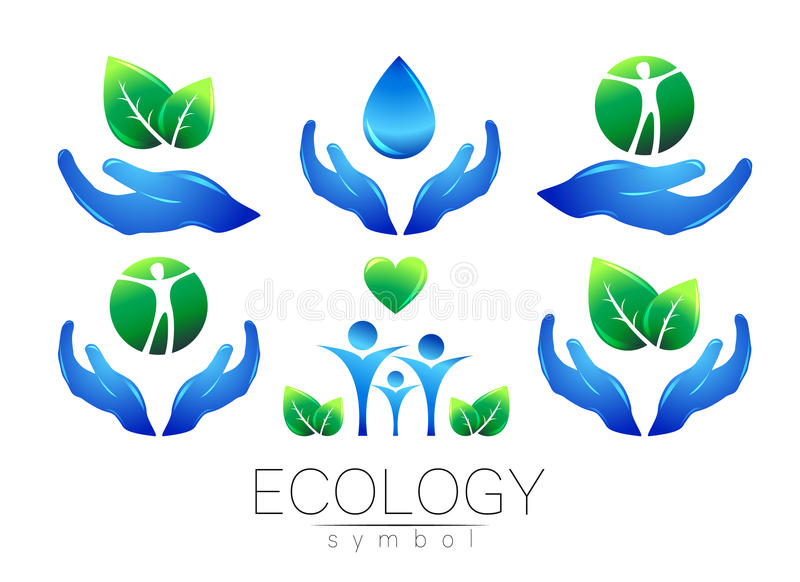Natural logo vector design set. Hands leaves water and peple on white background. Green and blue colors. Sign for stock illustration