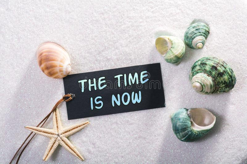 Label with the time is now royalty free stock photos