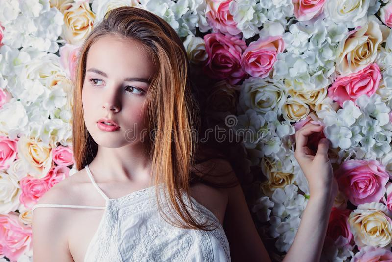 Natural makeup and flowers royalty free stock photo