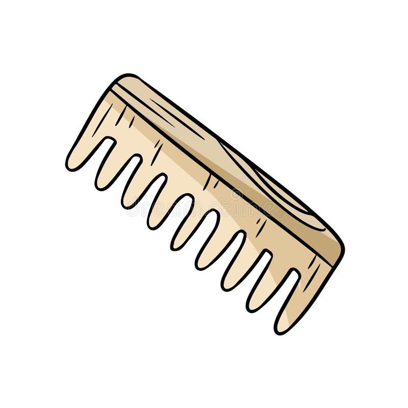 Natural material bamboo hair comb doodle. Ecological and zero-waste wooden hairbrush. Green house and plastic-free living. Natural material bamboo hair comb royalty free illustration