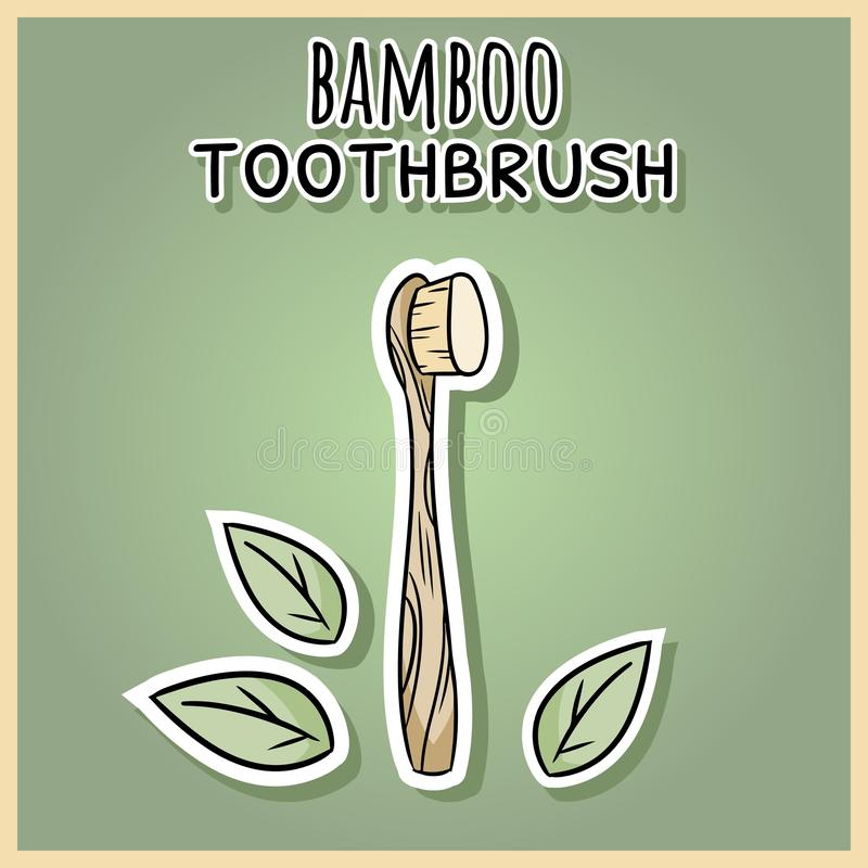 Natural material bamboo tothbrush. Ecological and zero-waste product. Green house and plastic-free living royalty free illustration