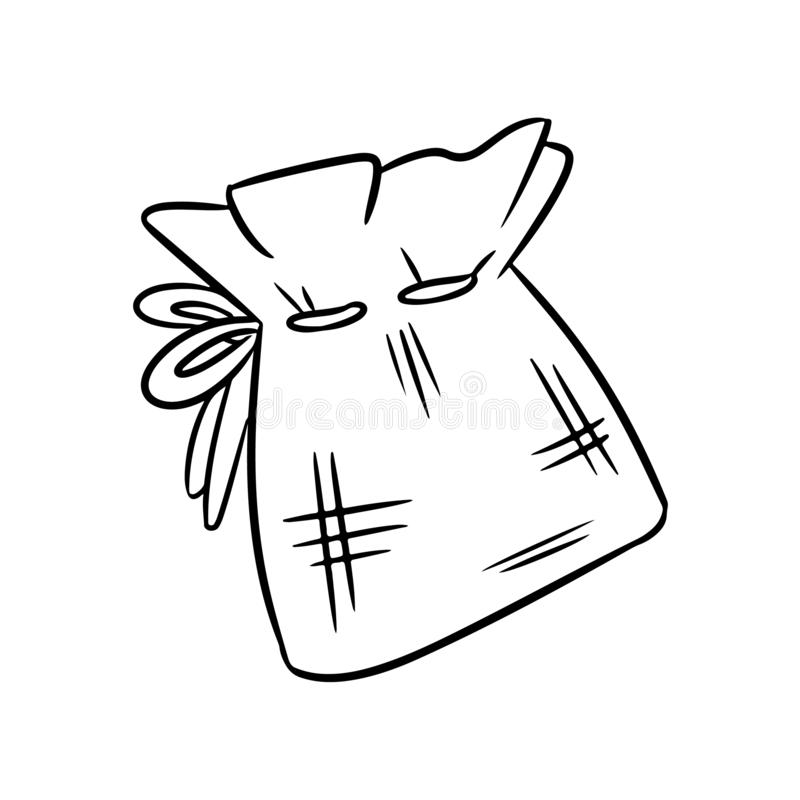 Natural material cotton bag doodle sketch. Ecological and zero-waste bag. Green house and plastic-free living stock illustration
