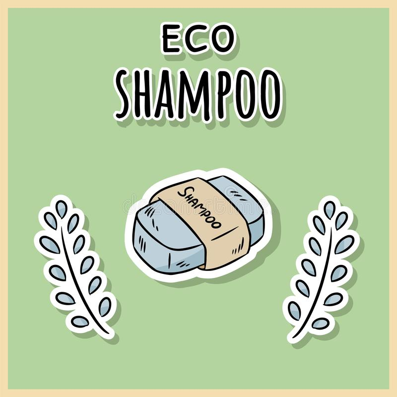 Natural material eco shampoo. Ecological and zero-waste product. Green house and plastic-free living royalty free illustration