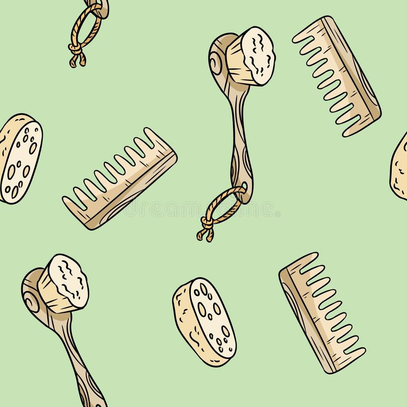 Natural material shower brush, loofah and comb seamless pattern.. Ecological and zero-waste product. Green house and plastic-free stock illustration