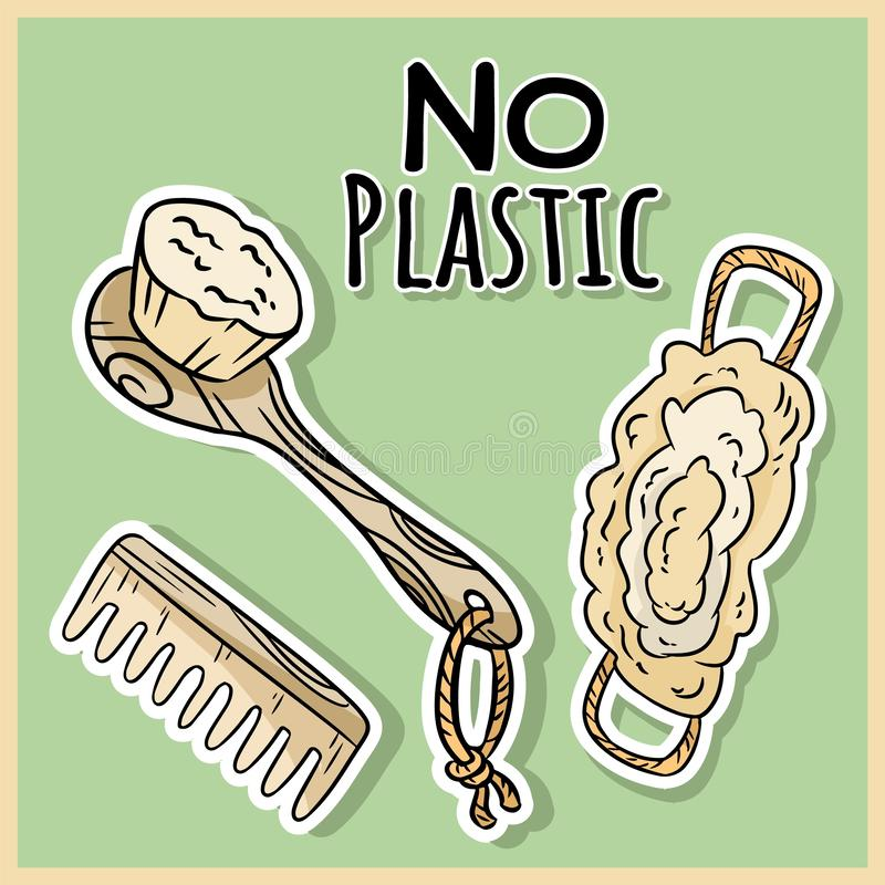 Natural material shower items. Ecological and zero-waste product. Green house and plastic-free living royalty free illustration