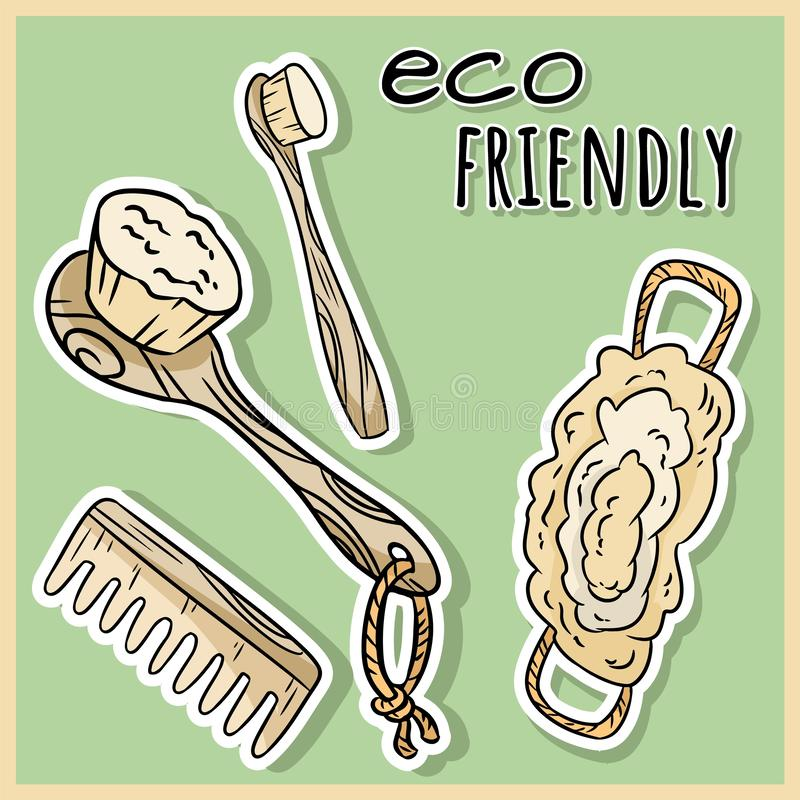Natural material shower items. Ecological and zero-waste product. Green house and plastic-free living vector illustration