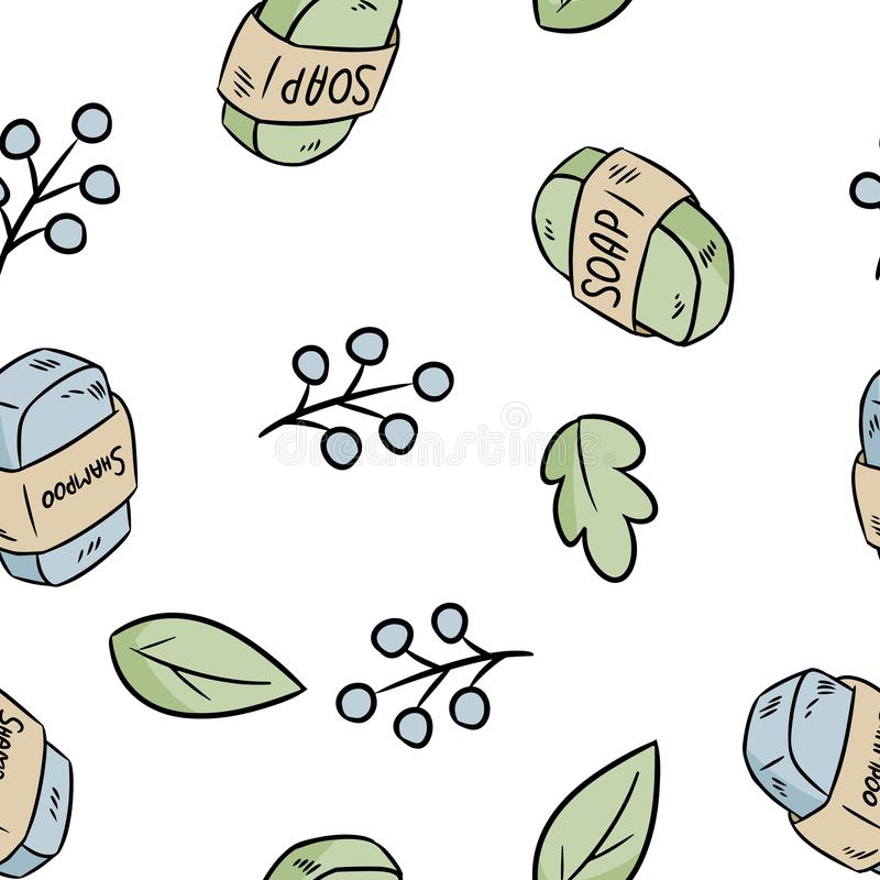 Natural material soap and shampoo seamless pattern. Ecological and zero-waste product. Green house and plastic-free living stock illustration