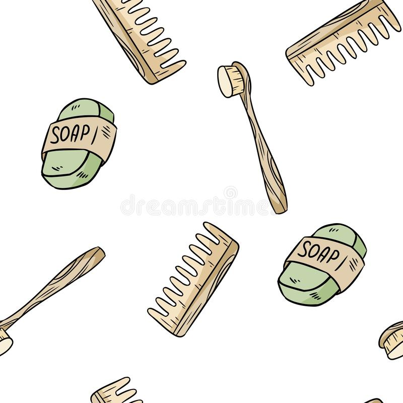 Natural material toothbrush, soap and comb seamless pattern. Ecological and zero-waste product. Green house and plastic-free stock illustration