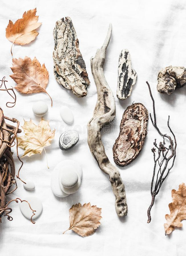 Natural materials for creativity on a light background stock photos