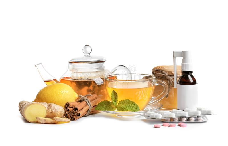 Natural and medical cold remedies stock photography