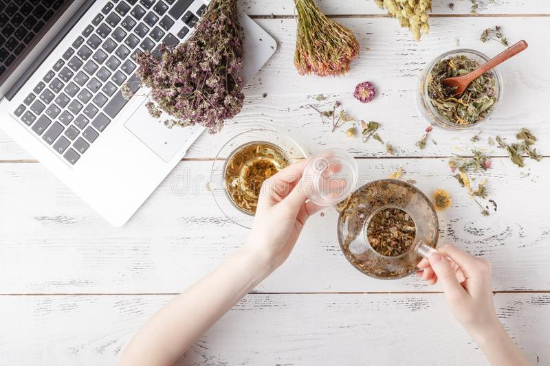 Natural medicine. Herbs, medicinal bottles and old recipe book with copy space for your text stock photos