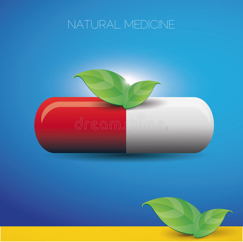 Natural medicine pill and green leaves. Vector stock illustration