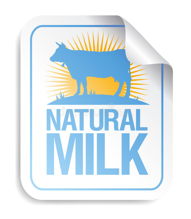 Download Natural milk sticker. stock vector. Image of delicious - 19873013