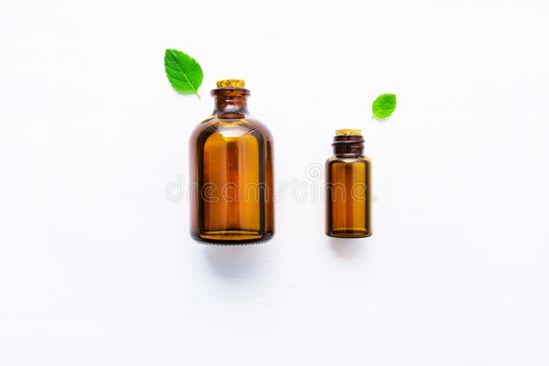 Natural Mint Essential Oil in a Glass Bottle with Fresh Mint Lea. Ves on white wooden background royalty free stock images