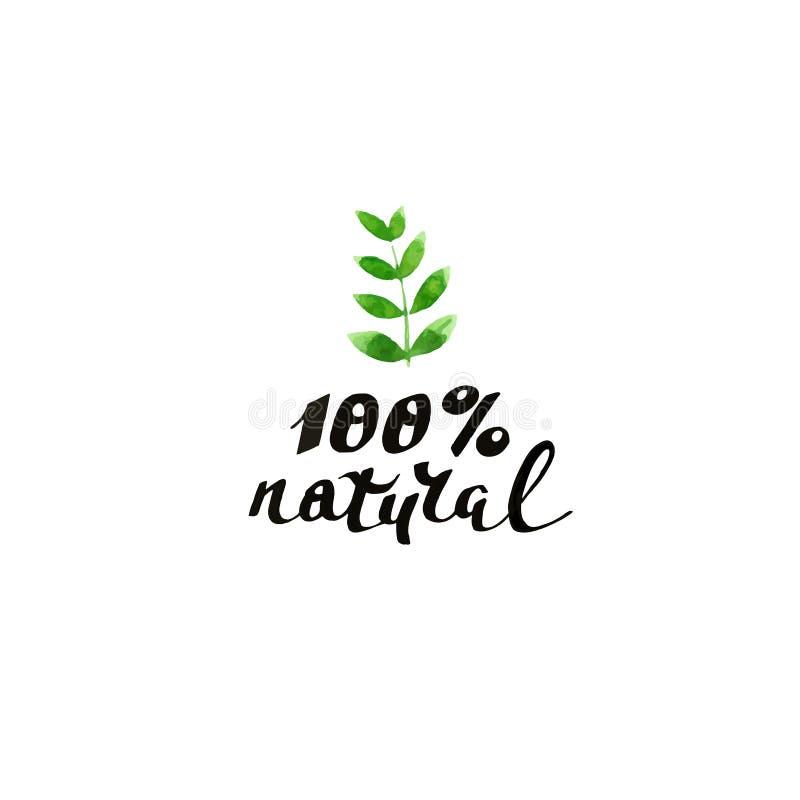 100% natural. Modern brush calligraphy. Handwritten ink lettering. stock photo
