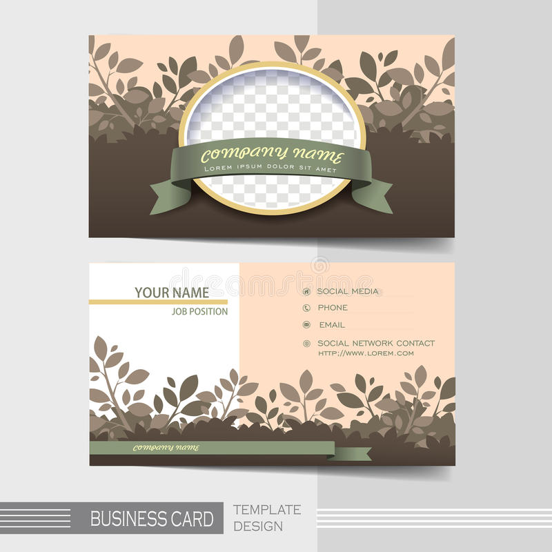 Natural modern business card template vector illustration