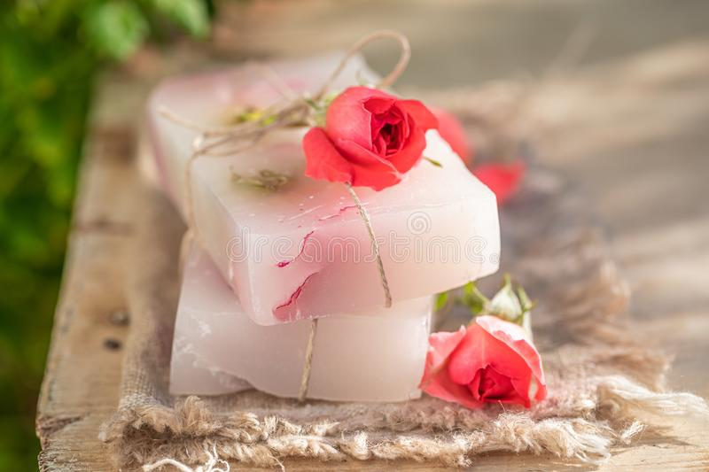 Natural and moisture rose soap in summer garden. In summer garden stock photo