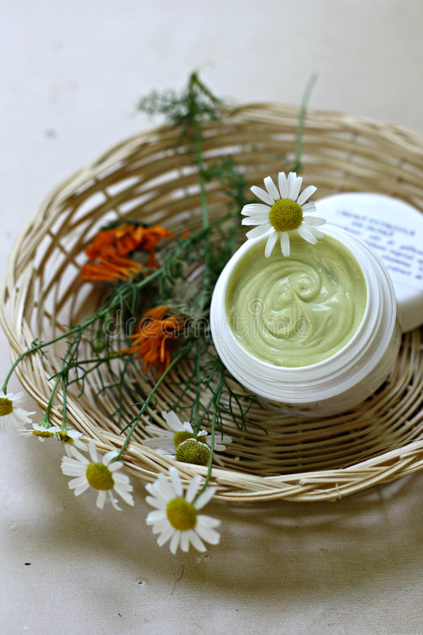 Natural moisturizing face cream stock images