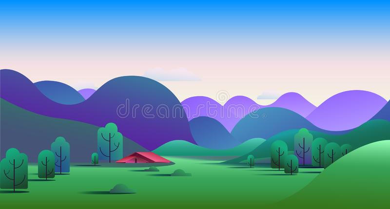 Natural morning landscape with green hills, trees, mountains and camping tent on meadow - vector illustration background.  vector illustration
