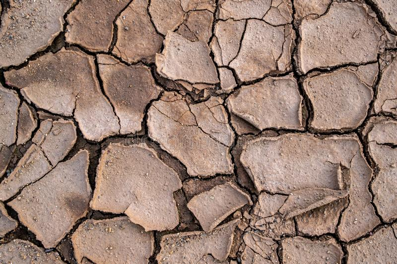 Natural mosaic formed by cracks in dry soil. Dead nature. Background and texture.  royalty free stock image