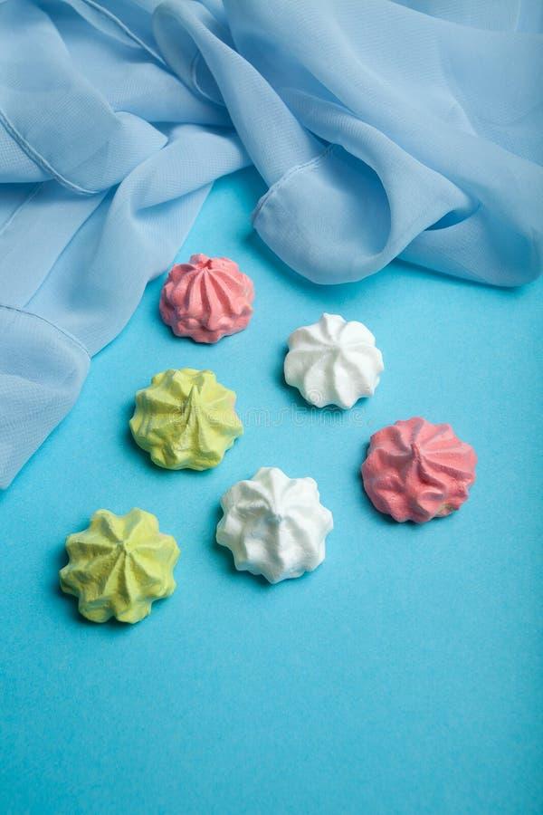Natural multi-colored sweets handmade - meringue royalty free stock photo