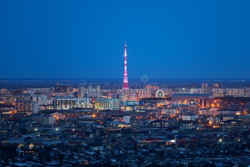 natural night landscape in Yakutsk, Yakutia royalty free stock photography