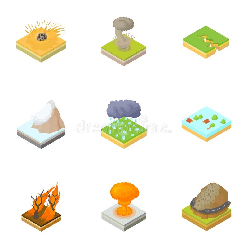 Natural occurrence icons set, cartoon style stock illustration
