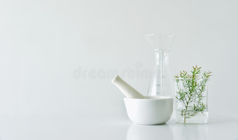 Natural organic botany and scientific glassware, Alternative herb medicine, Natural skin care beauty products stock photos