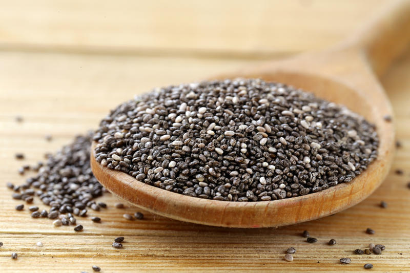 Natural organic chia seeds - healthy eating royalty free stock image