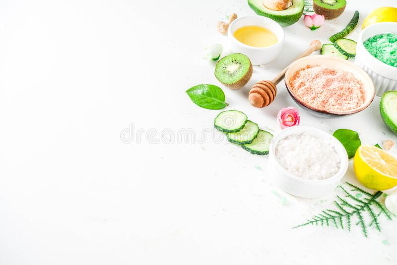 Natural and organic cosmetic concept. Spa and aromatherapy, Homemade cosmetics ingredients, extracts for natural beauty skincare product honey, lemon, almond royalty free stock photography