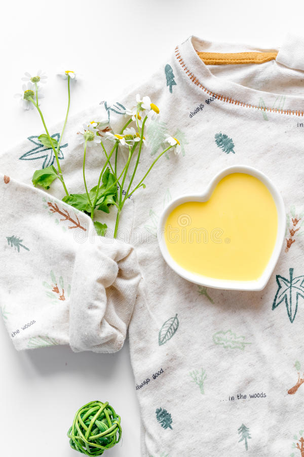 Natural organic cosmetics for baby on white background top view stock image