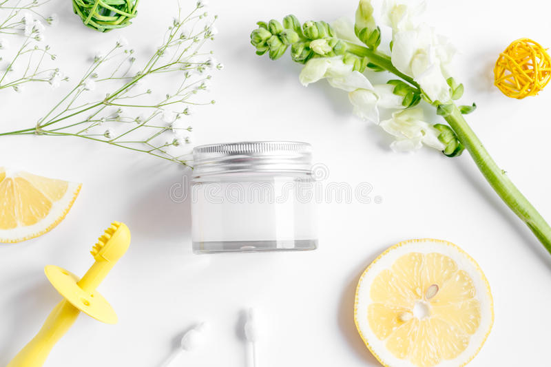 Natural organic cosmetics for baby on white background top view royalty free stock photos