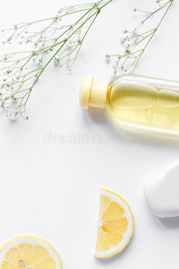 Natural organic cosmetics for baby on white background top view royalty free stock image