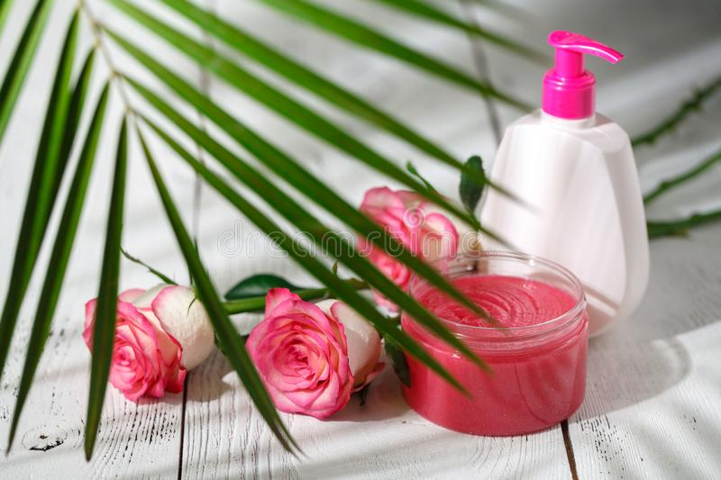 Natural organic cosmetics for hair care. Bath products, bathroom set stock photography