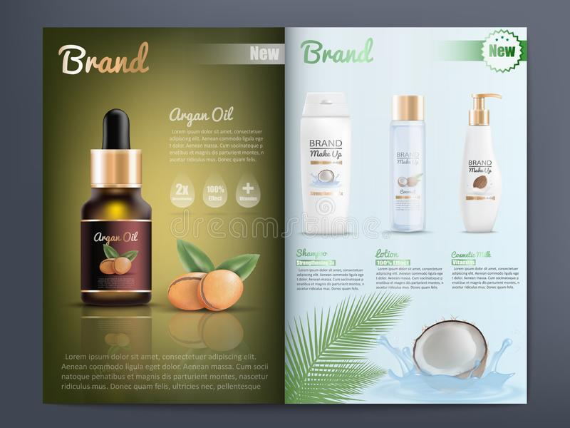 Cosmetics Products Catalog or Brochure Template. Natural Organic Cosmetics Products for Skin Care Promotion Catalog Realistic Vector Template with Branded Argan vector illustration