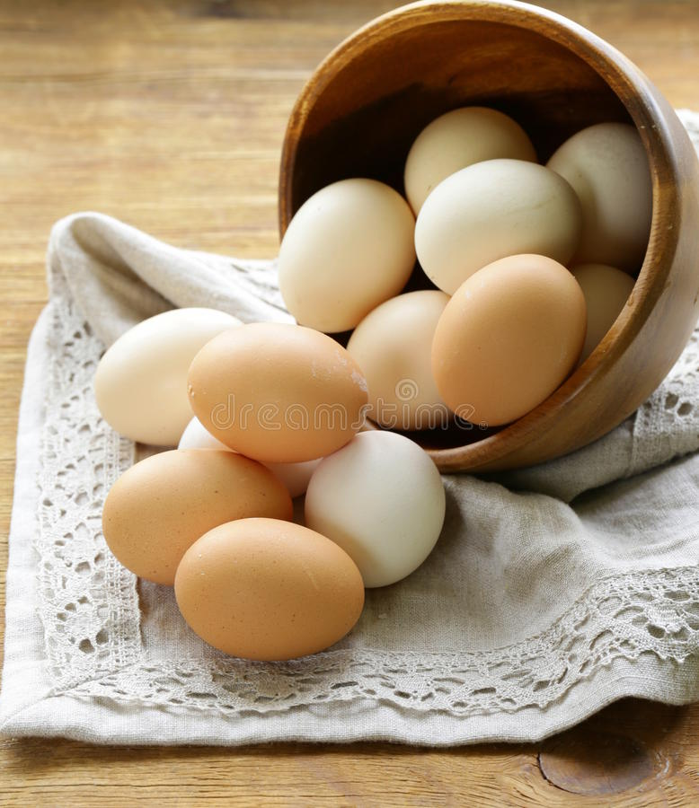 Natural organic eggs. In a wooden bowl royalty free stock image