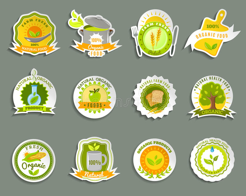 Natural organic food brands stickers set vector illustration