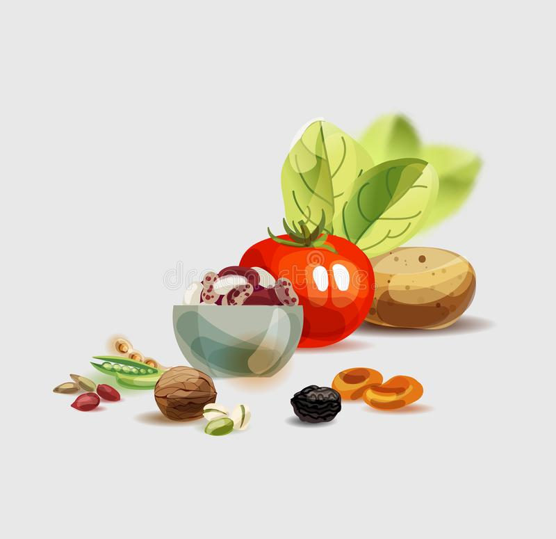 Natural organic food. Healthy nutrition as the basis of a healthy lifestyle. / stock illustration