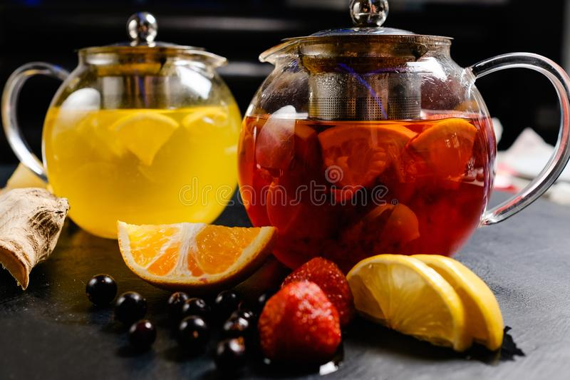 Natural organic fruit tea healthy vitamin drink stock photo