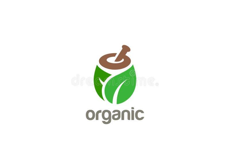 Natural Organic Logo vector Cosmetics Medicine SPA. Natural Organic Eco Bio Green Logo design vector template. Cosmetics, Medicine, Pharmacy, SPA logotype mortar stock illustration