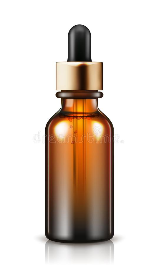 Natural organic oil isolated on white background. Body oil in brown bottle. stock illustration
