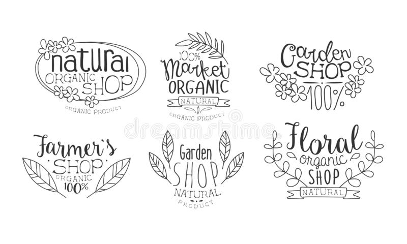 Natural Organic Shop Hand Drawn Badges Set, Market Organic, Garden Shop, Farmers Market Monochrome Vector Illustration vector illustration