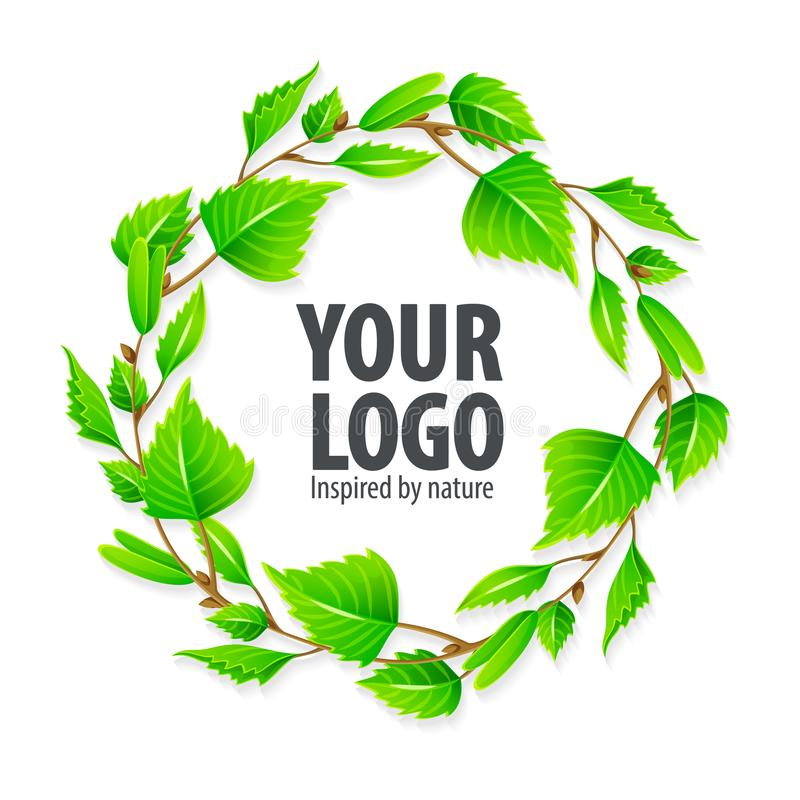 Natural organic sign logo with green leaves vector illustration
