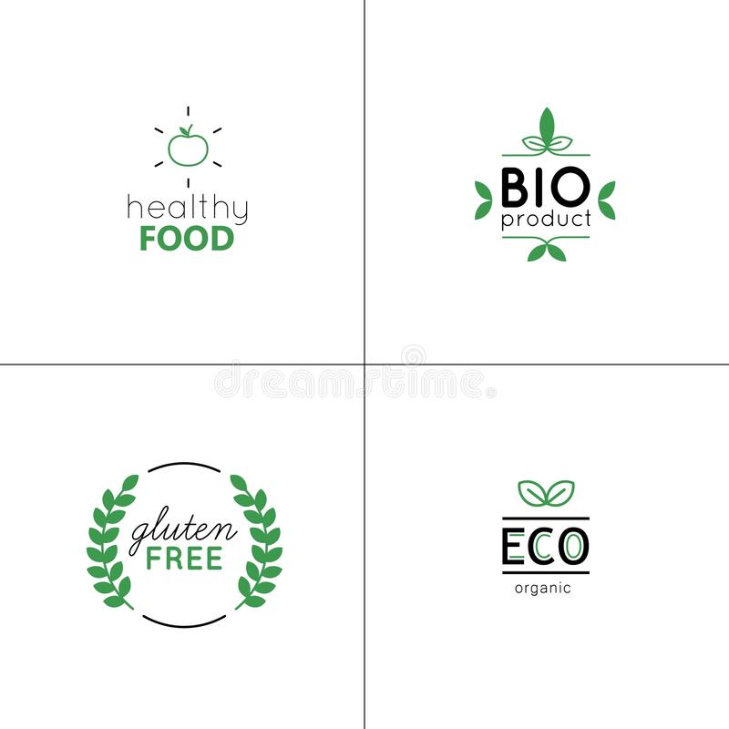 Natural and organic vector set with green labels and badges. stock image
