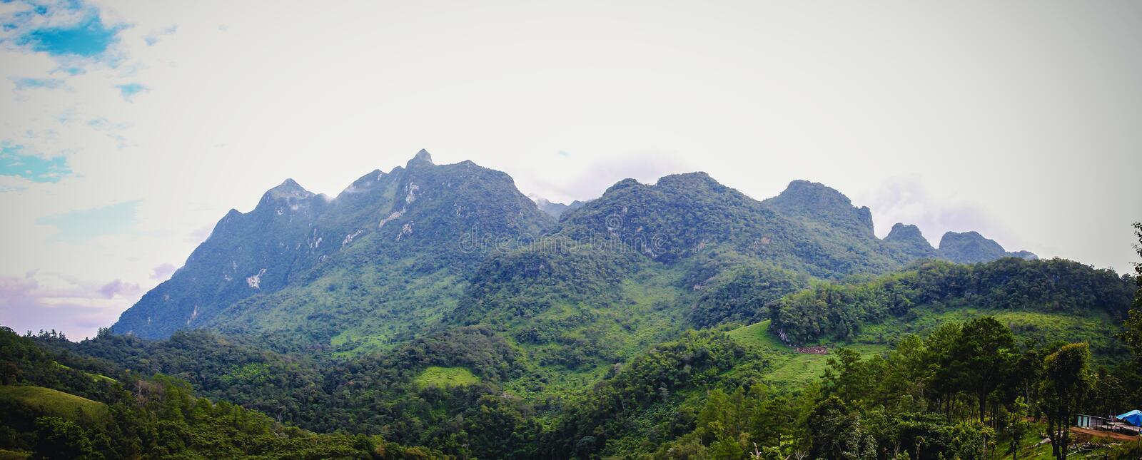 Natural Panorama of Doi Luang Mountain in Chiang Dao Province It is the highest mountain in Thailand. Doi Luang Chiang Dao stock images