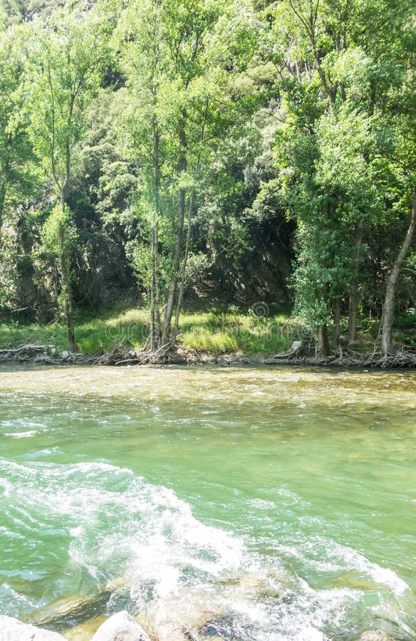 Natural panorama of the river Noguera Pallaresa with strong currents, typical of summer. Catalan Pyrenees. Catalonia, Spain. Natural panorama of the river royalty free stock photography