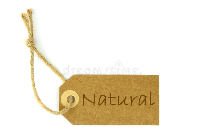 Natural paper Label and Natural text royalty free stock photos