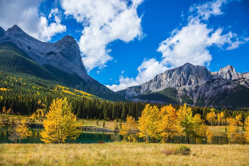Natural Park near Canmore, Canada. Natural Park near the town of Canmore, Canada.  The famous Three Sisters  mountains,  lovely shallow lake and deciduous stock photos
