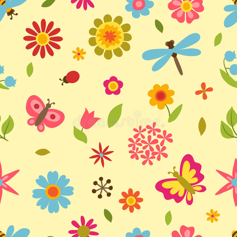 Natural pattern with beautiful flowers, beetles stock illustration